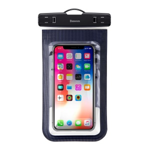 Baseus Waterproof Smartphone Bag Universal Phone Pouch Bag with Armband for iPhone Samsung Huawei etc. - Black