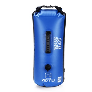 AOTU AT6615 30L Waterproof Outdoor Canoe Backpack Dry Bag with Dual Air Valve Inflation and Handle - Blue