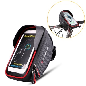 WHEEL UP 6-inch Nylon Cycling Bag Waterproof Touch Screen Phone Bag - Red