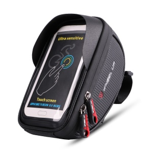 WHEEL UP 6-inch Nylon Cycling Pocket Waterproof Touch Screen Phone Bag - Black