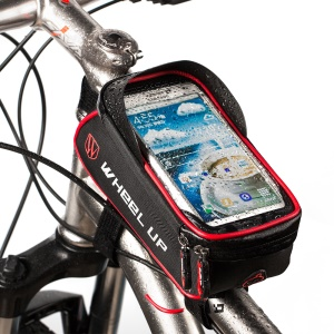 WHEEL UP 6-inch Nylon Cycling Bag Waterproof Touch Screen Phone Bag - Black / Red