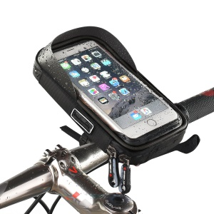 WHEEL UP 6-inch Multi-functional Nylon Cycling Bag Waterproof Touch Screen Navigation Stand Bag - All Black