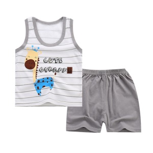 Stylish Cotton Vest + Short Pants Summer Clothes Set for Boys and Girls - Size: 55 / Giraffe Pattern