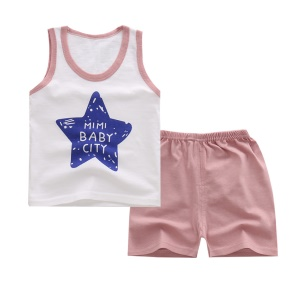Pack of 2 PCS Soft Cotton Sleeveless Vest Top and Shorts for Baby Boys Baby Girls - Size: 60 / Blue Star