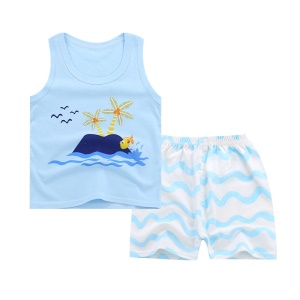 Baby Boys Girls Summer Cotton Sleeveless Outfits Set Tops and Short Pants, Size: 75 - Island