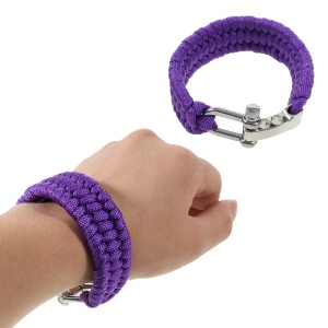 Outdoor Survival Paracord Wrist Chain with Alloy Buckle - Purple