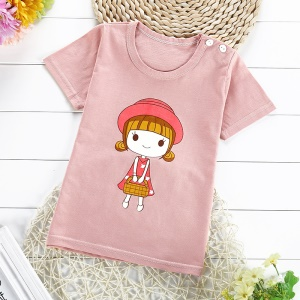 Summer Pattern Printing Pure Cotton Short Sleeve T Shirt for Boys Girls Kids, Size: 75 - Cute Girl