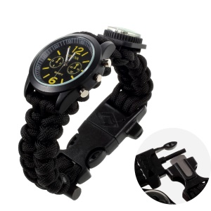 Outdoor Paracord Survival Watch, Fire Starter / Compass / Whistle / Scraper - Black