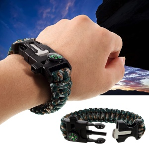 Multifunctional Outdoor Survival Paracord Bracelet, Flint / Whistle / Compass / Scraper - Camouflage Dark Green