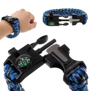 Multifunctional Outdoor Survival Paracord Bracelet, Flint / Whistle / Compass / Scraper - Camouflage Blue