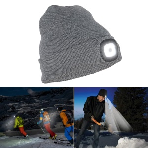 Unisex Knitted Hat with 4 Built In and Removable Rechargeable LED Lights - Grey