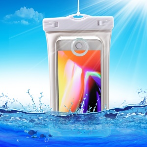 Pure Color 6-inch Cushion Mobile Waterproof Bag for iPhone Samsung Huawei etc., Size: 175 x 100mm - White