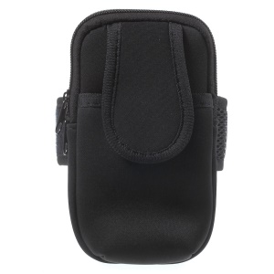 5.5-inch Neoprene Double Pockets Sport Armband Pouch Bag for iPhone 6s Plus/Samsung S7, Size: 17.5 x 11cm - Black