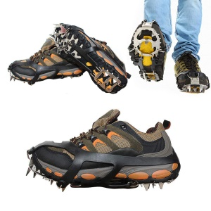 1 Pair Outdoor Ice Crampons 18 Teeth Steel Non-slip Shoe Cover Rock Climbing - Black / Size: L