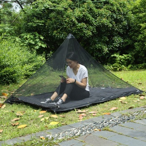 Portable Backpacking Tent for Single Camping Bed Anti Mosquito Net Bed Tent Mesh Decor - Black
