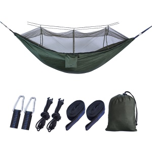 Outdoor Travel Camping Tent Swing Bed Mosquito Net Hanging Hammock - Dark green