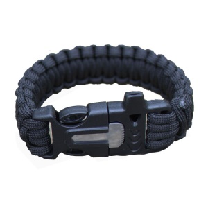 Outdoor Camping Hiking Survival Bracelet Paracord, Whistle / Flint / Fire Starter - Black