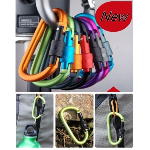 D Shape Aluminum Alloy Carabiner Buckle Keychain Hook Screw Lock