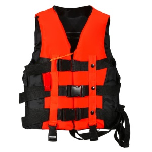 Children Adult Polyester Life Jacket Universal Swimming Boating Drifting Vest with Whistle - Orange / Size: S