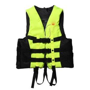 Life Jacket Adults Kids Vest for Swimming Boating Kayaking with Whistle - Green / Size: XXL