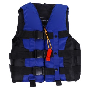 Polyester Adult Life Jacket Universal Swimming Boating Surfing Vest + Whistle - Blue / Size: XXL