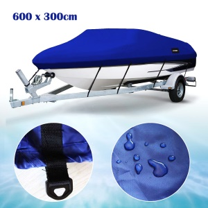 17-19ft Heavy Duty 210D Marine Grade Polyester Canvas Trailerable Waterproof Runabout Boat Cover, 600 x 330cm