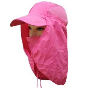 Hiking Fishing Outdoor Big Wide Brim Face Neck Cover Flap Sun Hat Cap - Rose