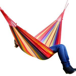 Outdoor Leisure Cotton Canvas Colorful Stripes Hammock 200x100cm - Red