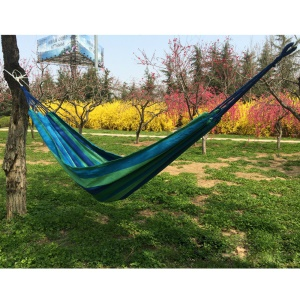 Outdoor Camping Leisure Colorful Stripes Canvas Hammock 185x80cm - Blue
