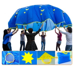 3 Meters Star and Moon Pattern Parachute Toy with 8 Handles for Kids Play
