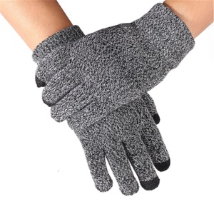 Unisex Touchscreen Texting Gloves Warm Winter Knitted Glove - Black Melange