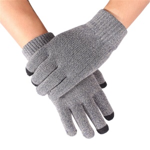 Warm Knitted Touchscreen Texting Unisex Gloves - Grey