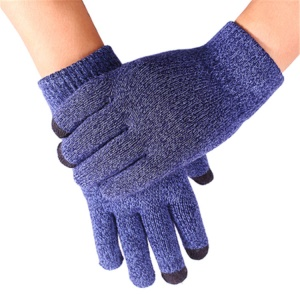 Touchscreen Texting Winter Warm Gloves Knitted Glove - Blue Melange