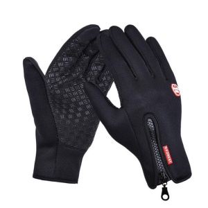 1 Pair Touch Screen Outdoor Full-finger Windproof Skiing Cycling Warm Gloves - Black / M