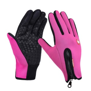 1 Pair Warm Full-finger Touch Screen Windproof Skiing Cycling Outdoor Gloves - Rose / M