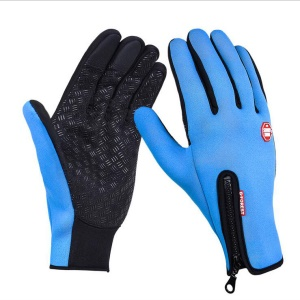 1 Pair Outdoor Full-finger Windproof Skiing Cycling Touch Screen Gloves - Baby Blue / XL