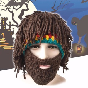 Warm Winter Beard Knit Crochet Hat Mustache Mask Cap