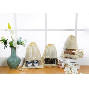 10 Pcs/Lot Non-Woven Dual Drawstring Shoe Bags with Clear View Window - Beige / Size: L
