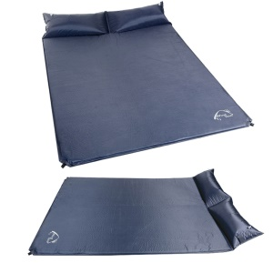 WIND TOUR Double Self-Inflating Sleeping Pad with Pillow for Outdoor Camping Etc, 185 x 130 x 5cm - Dark Blue