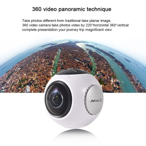 360 Degrees Panoramic 4K HD 60fps 3D VR Sport Action Video Camera with 220° Wide Angle and WiFi