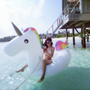 Inflatable Unicorn Pool Lounger Swimming Floating Float Bed, Size: 275 x 140 x 120cm