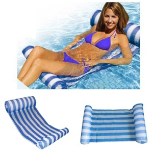 Water Hammock Lounge Inflatable Pool Swimming Floating Mat - Blue