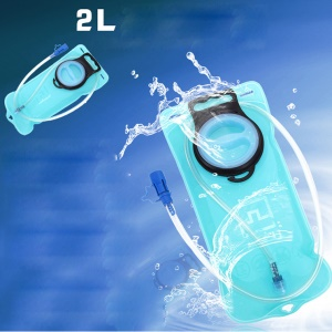 2L Non-toxic TPU Hydration Bladder Bicycle Climbing Camping Hiking Water Bag Pouch - Blue