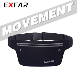 EXFAR Waterproof Bag Running Belts Race Belt Workout Belt - Black