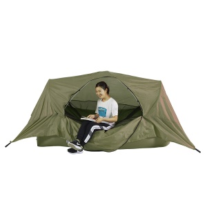 Outdoor Inflatable Lounger Air Sofa Portable Tent with Detachable Mosquito Net for Camping, Hiking Etc. - Army Green