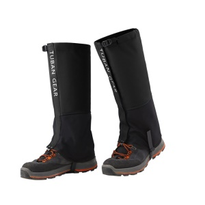TUBAN Gear Reinforced TPU Strap Breathable 500D Nylon Hiking Gaiters Snow Gaiters - Black / Size: M