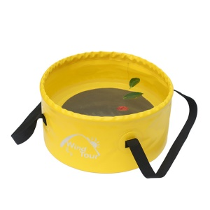 Wind Tour 15L Lightweight Portable Folding Wash Basin Bucket for Outdoor Travel Camping Hiking Fishing - Yellow