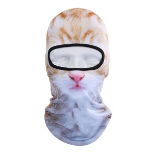Unisex Animal Face 3D Print Ski Balaclava Full Face Cycling Mask - White / Brown Cat