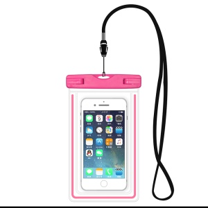 ETS-003 Noctilucent Waterproof Bag Cover with Strap for iPhone 7 Plus - Pink