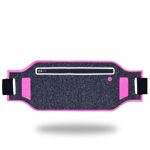 YBF-061 Super Slim Breathable Sports Belt Pouch Bag Running Waist Bag with Earphone Hole - Rose